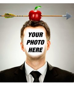 Put an apple with an arrow on your head with this photomontage online