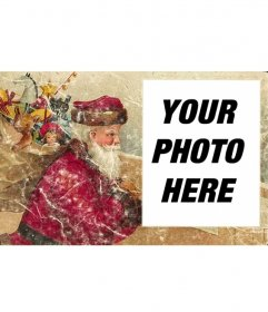 Old Christmas card with Santa to add your photo