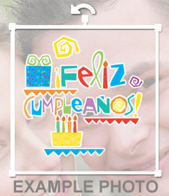 Happy birthday text with color drawings of birthday cakes that you put in your photos online easily and with photo editor
