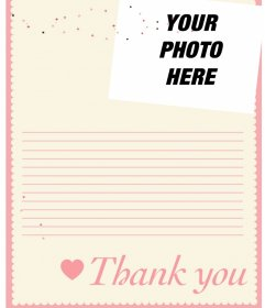 Online thank you letter you can customize with a photo