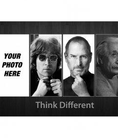 Photomontage with John Lennon, Steve Jobs and Albert Einstein. Think different