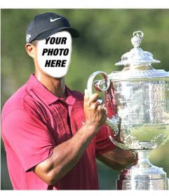 Template of Tiger Woods raising a glass to edit and put a face