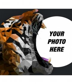 Photo frame in which your photo appears with a tiger