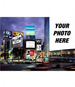 Position your photo as a poster in the metropolis of Tokyo all over a face of a building