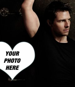 Photomontage with a heart next to Tom Cruise