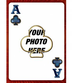 Photo frame with the ace of clubs