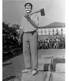 Old photo montage of a worker man posing where you can change his face