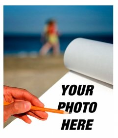 Photomontage to put your photo in a sketchbook