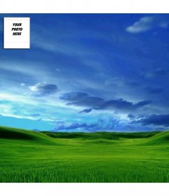 Twitter background template with your photo: sky and green