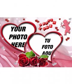 Montage of two photos heart shaped with roses and pink background