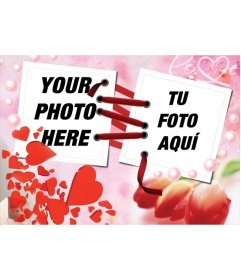 Photo frame with the effect that the two photos are joined together with a red ribbon