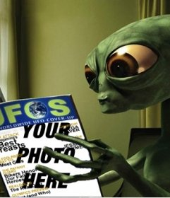 Photomontage of an alien reading a magazine in which you can put your photo