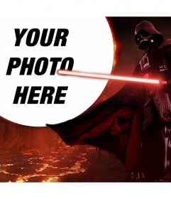 Star Wars photomontage with Darth Vader surrounded by lava