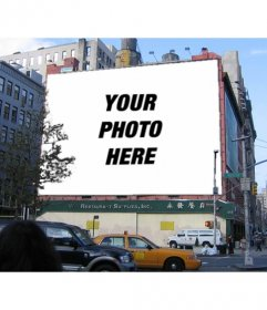 Billboard photomontage of a building where you can put a photograph