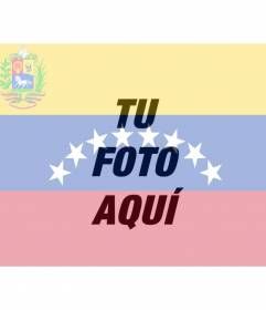 Photo montage with the image of the Venezuelan flag