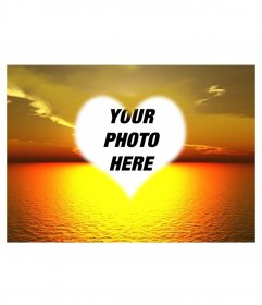 Photo montage in which you can put a photo of a beautiful sunset background at sea in a heart-shaped frame