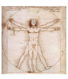 Your face within the famous Vitruvian Man by Leonardo Da Vinci, frame with which to surprise