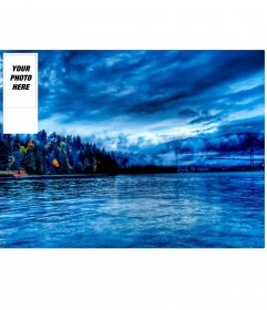 Make your custom twitter wallpaper with your photo and background a landscape of water and forest
