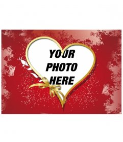Photo frame heart shape surrounded by gold ribbons where you can insert your own picture