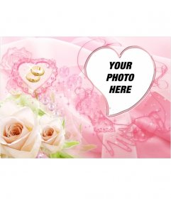 Photo frame heart-shaped. Includes two yellow roses and wedding rings