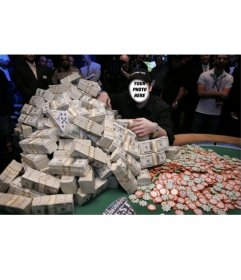 Photomontage of a winner of one million dollars playing poker