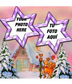 Phptp frame of 2 photos, star-shaped frame ans winter background scenery