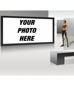 Futuristic TV photo frame with 3D looking woman