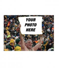 Funny photo montage of a man holding a sign in a stadium