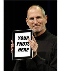 Photomontage with popular characters. in this montage, Steve Jobs, Apple CEO shows off your photo in an iPad