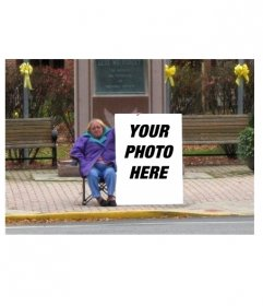 Funny photo collage to put your picture on a poster in the street