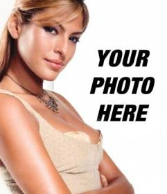 "Template for your photo collage with popular characters and celebrities. Upload your photo and stand next to Eva Mendes, model and actress. It""s easy!"