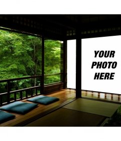 Photomontage of a Japanese zen and your projected on a wall picture