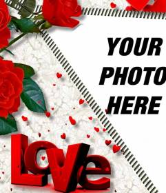 LOVE online photo frame, which includes the photo that you want while opening a zipper. Roses adorn assembly