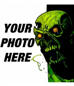 Photomontage with an attacking zombie