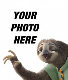 Photo effect with the sloth from Zootopia to upload your photo