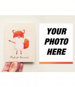 Thank you card with a cute fox where you can put your photo